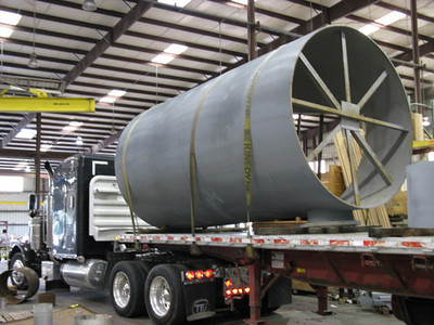96 inch diameter duct work being shipped