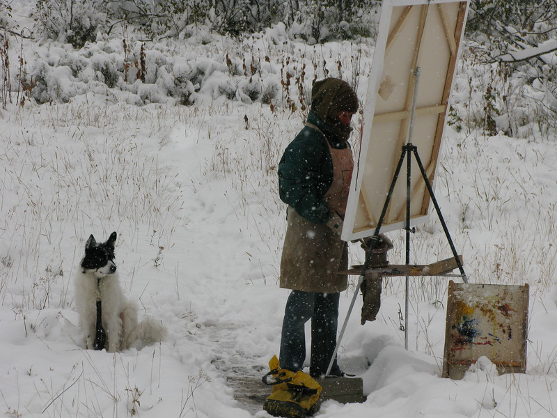 Painting in the snow