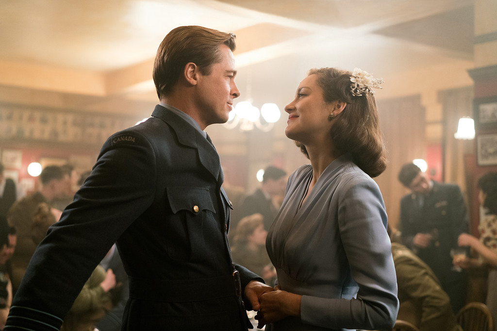 . Brad Pitt plays Max Vatan, and Marion Cotillard is Marianne Beausejour in the romantic spy drama �Allied,� in theaters now. (Paramount Pictures)