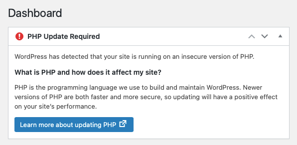 Old PHP Warning in WordPress
