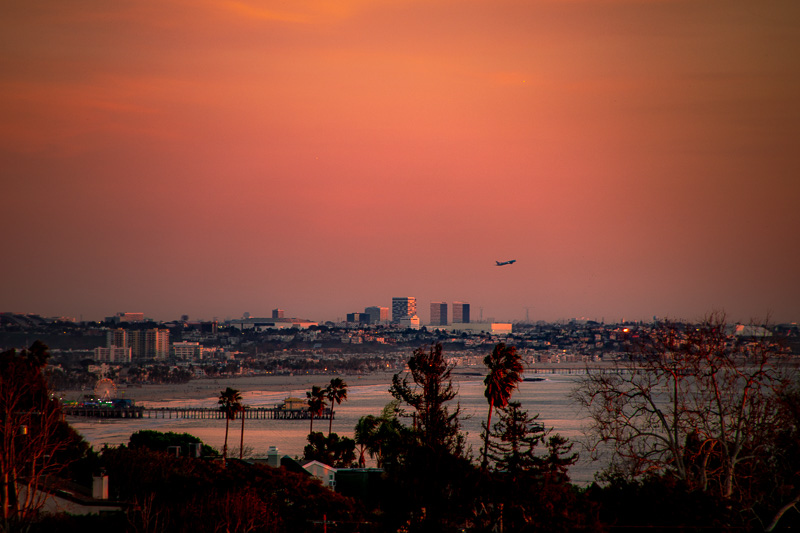 January 22 - Airplane taking off at dusk on a cloudless afternoon over Santa Monica Bay.jpg
