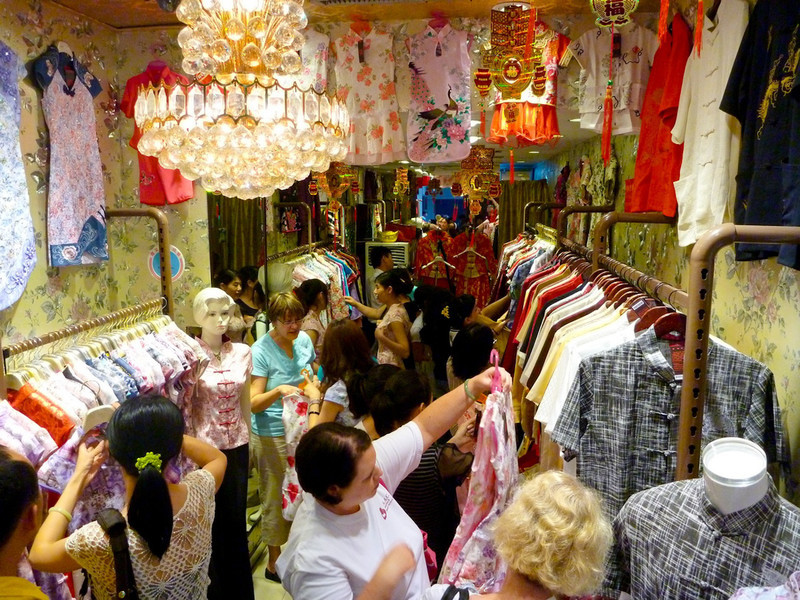 The gals shopping for Chinese dresses