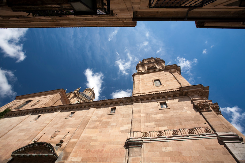 Low angle view of Clergy church (18th century), town of Salamanca, autonomous community of Castilla and Leon, Spain
