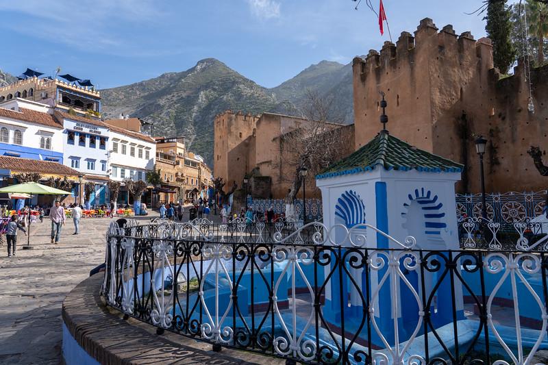 Main square in Chefchaouen, Morocco