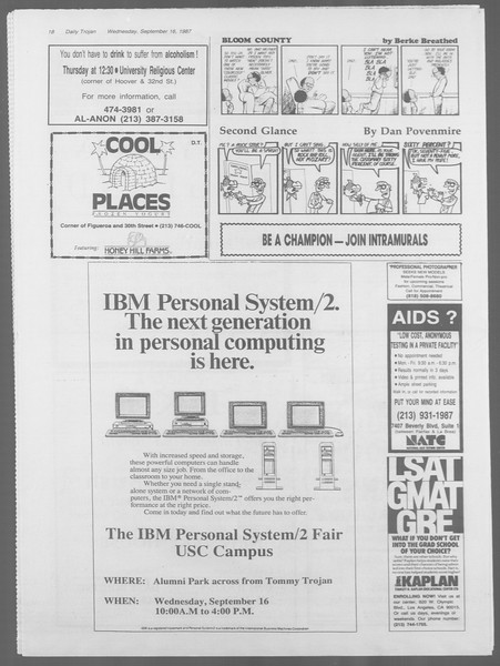 Daily Trojan, Vol. 105, No. 10, September 16, 1987