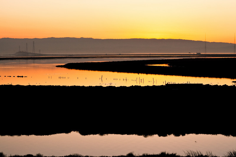 Dumbarton bridge and San Francisco Bay tidelands from Don Edwards Regional Park.