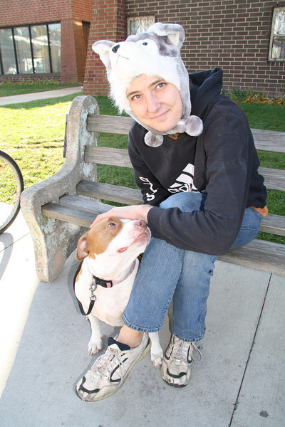 Lady and Dog, West Broad St, Tamaqua (11-8-2011)