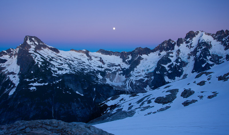Moon rise over Luna Peak and the Pickets range. This was taken at a magical camp at the base of Mount Challenger