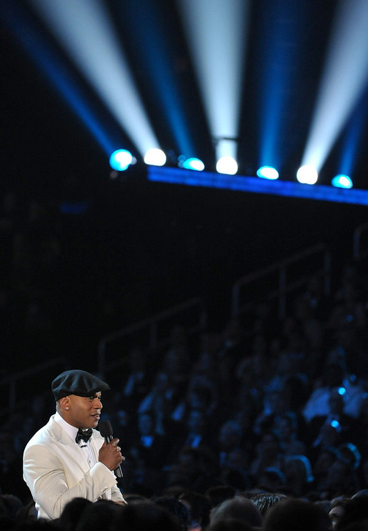 . Host LL Cool J speaks during the 55th annual Grammy Awards on Sunday, Feb. 10, 2013, in Los Angeles. (Photo by John Shearer/Invision/AP)