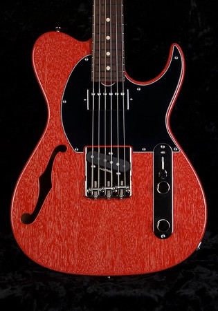 Retro Classic Hollow T #3701, Deep Crimson Red With White Grainfill, Grosh T/H Pickups
