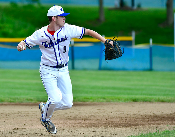 5/29/2019 Mike Orazzi | Staff St. Paul's Joshua Cofrancesco (9) during Wednesday's Class S First Round baseball game with Sacred Heart in Bristol.