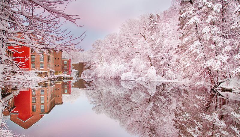 Pink Snow at Sanford Mill Pond