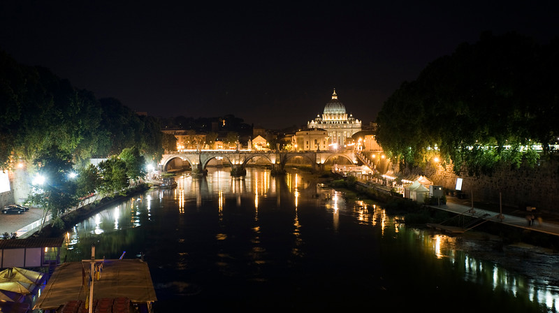 Nocturnal view of the Tiber and the Vatican City, Rome