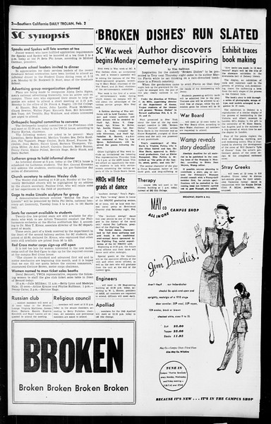 Daily Trojan, Vol. 36, No. 60, February 02, 1945