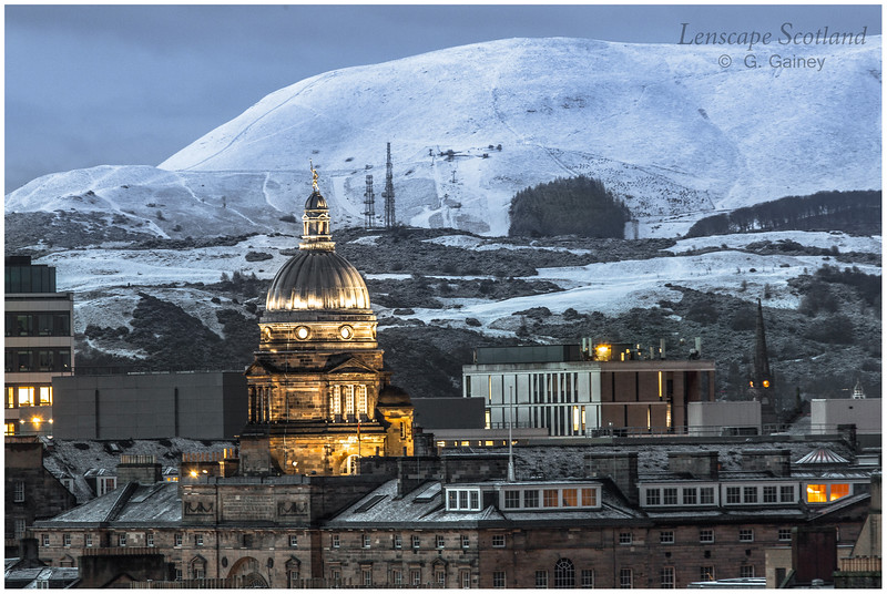 Old College dome and the Pentland Hills under snow