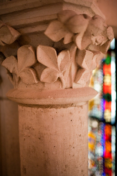 Close-up of a column, Gothic Cathedral, town of Leon, autonomous community of Castilla y Leon, northern Spain