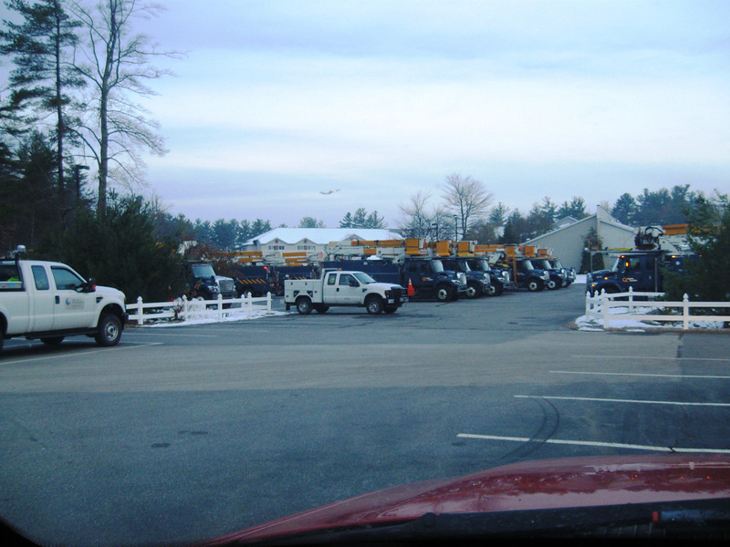 Here are a couple of pictures of the calvary staged at the Best Western, Yard Restaurant around 7am this morning.  At least 40 trucks from Hydro Quebec along with some tree crews and PSNH supervisor trucks. Photo by Bill P.