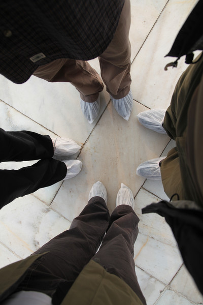 Shoe covers needed to enter the Taj Mahal.