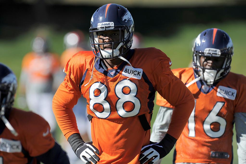 . Denver Broncos wide receiver Demaryius Thomas (88) runs through drills during practice October 23, 2013 at Dove Valley. (Photo by John Leyba/The Denver Post)
