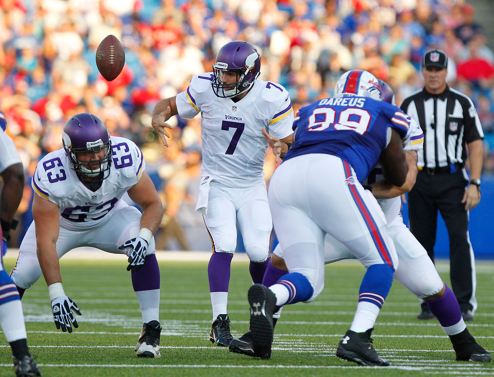 . Minnesota Vikings quarterback Christian Ponder (7) loses control of the ball on the snap during the first half of an NFL preseason football game against the Buffalo Bills on Friday, Aug. 16, 2013, in Orchard Park, N.Y. The Vikings retained possession. (AP Photo/Bill Wippert)