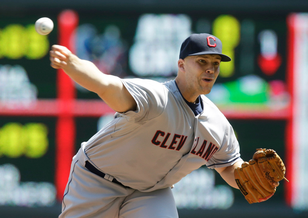 . Indians starter Justin Masterson throws against the Twins in the first inning. Masterson allowed just one hit and one run over seven innings.  (AP Photo/Jim Mone)