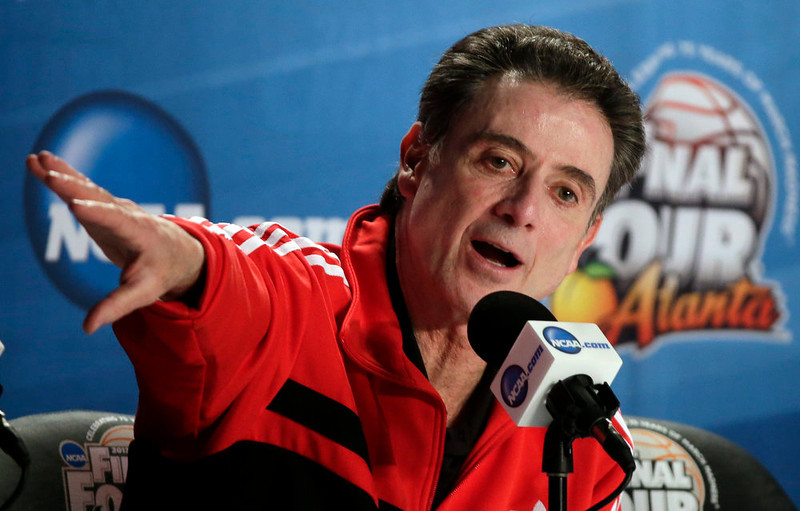 . Louisville head coach Rick Pitino answers a question during a news conference for their NCAA Final Four tournament college basketball game Sunday, April 7, 2013, in Atlanta. Louisville plays Michigan in the championship game on Monday. (AP Photo/Chris O\'Meara)
