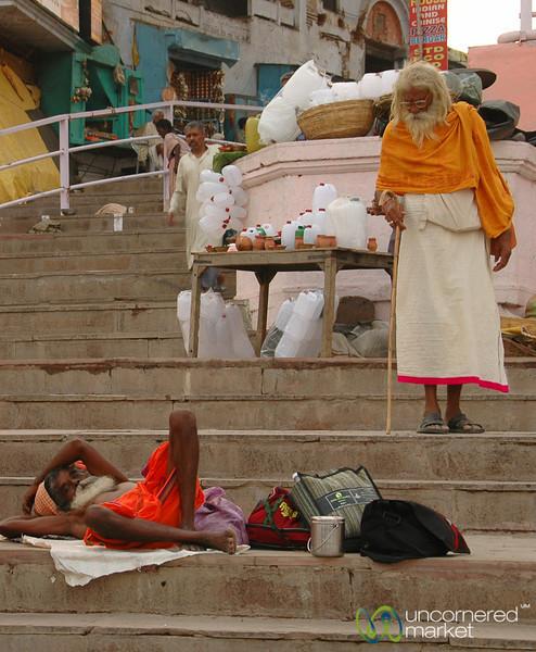Taking a Nap at the Ghats - Varanasi, India