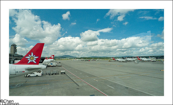 Zurich Airport - we knew this is the last of blue sky for 3 days...