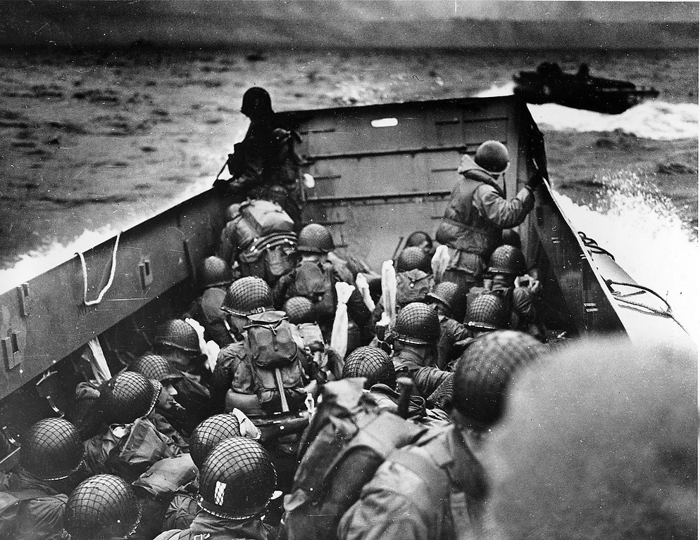 . A U.S. Coast Guard landing barge, tightly packed with helmeted soldiers, approaches the shore at Normandy, France, during initial Allied landing operations, in this June 6, 1944 file photo.(AP Photo, File)