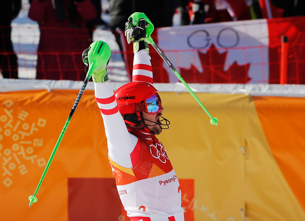 . Austria\'s Marcel Hirscher celebrates after completing the slalom portion of the men\'s combined at the 2018 Winter Olympics in Jeongseon, South Korea, Tuesday, Feb. 13, 2018. (AP Photo/Christophe Ena)