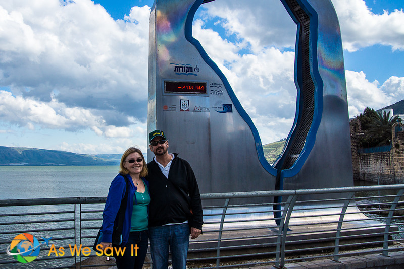 Dan and Linda at a sign showing the current level of the water of the Sea of Galilee, an important reserve for the entire country of Israel.