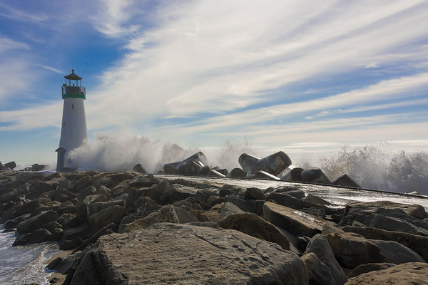 Walton Lighthouse Crashing Waves 1