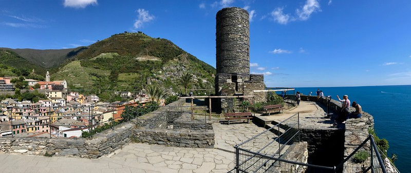 Lookout Tower at Doria Castle - built in the 15th century as a lookout tower to protect the village from pirates. - Vernazza, Italy