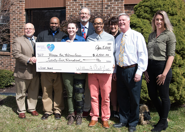 04/05/18 Wesley Bunnell   Staff The Petit Family Foundation has awarded $2,500 grant to Hoops for Homeless which is holding their annual basketball tournament April 28th in an effort to fight homelessness. Hoops for Homeless hard member Gerry Amodio, front L, board member Jason Gibson, Shawna Viola from CCSU's Office of Community Engagement, board member Adrian Elliot, board member Joe Vaverchak, Prudence Crandall Center Family Advocate Jessica Sagan, Representative William Petit, back middle and Prudence Crandall Center Communications and Event Manager Stacy Mayou.