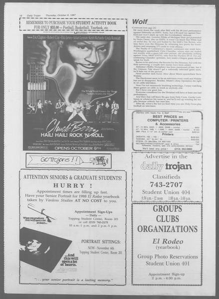 Daily Trojan, Vol. 105, No. 25, October 08, 1987