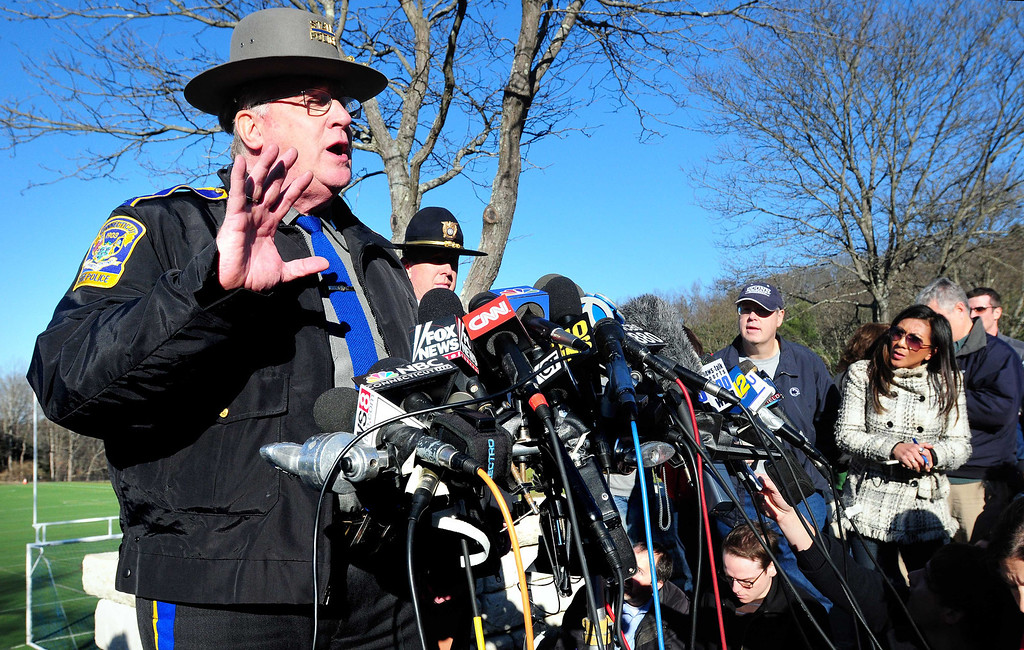 . Connecticut State Police Lt. J. Paul Vance speaks about the shootings at Sandy Hook Elementary School during a press conference at Treadwell Park in Sandy Hook on 12/14/2012. Photo by Arnold Gold/New Haven Register
