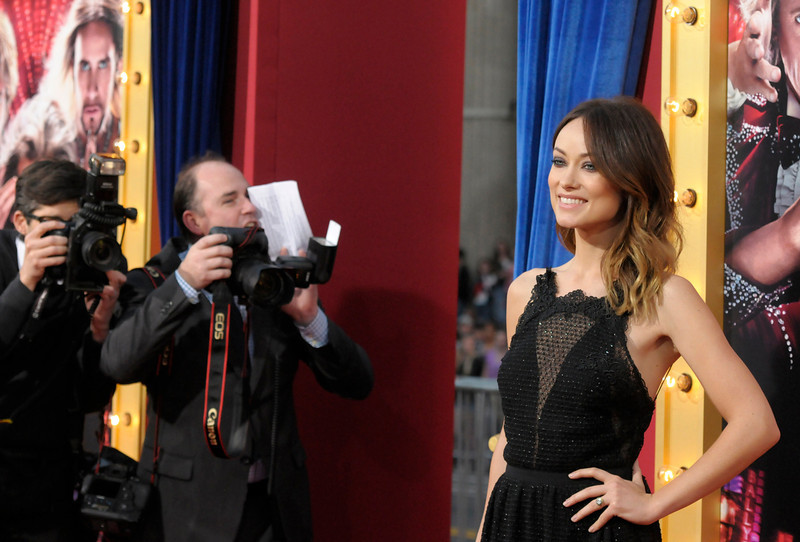 ". Actress Olivia Wilde arrives at the world premiere of the feature film ""The Incredible Burt Wonderstone\"" at the TCL Chinese Theatre on Monday, March 11, 2013 in Los Angeles. (Photo by Dan Steinberg/Invision/AP)"