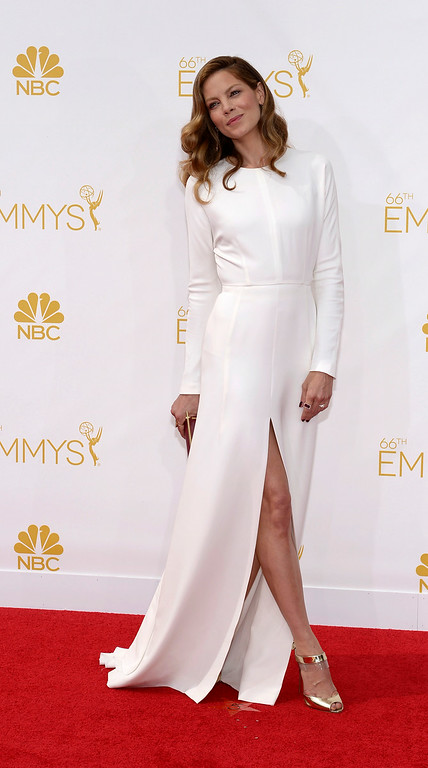 . Michelle Monaghan on the red carpet at the 66th Primetime Emmy Awards show at the Nokia Theatre in Los Angeles, California on Monday August 25, 2014. (Photo by John McCoy / Los Angeles Daily News)