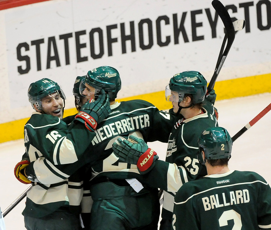 . Minnesota Wild Jason Zucker, left, and teammates Nino Niederreiter, middle, and Jonas Brodin, right, celebrate Zucker\'s goal during the second period.  (Pioneer Press: Sherri LaRose-Chiglo)