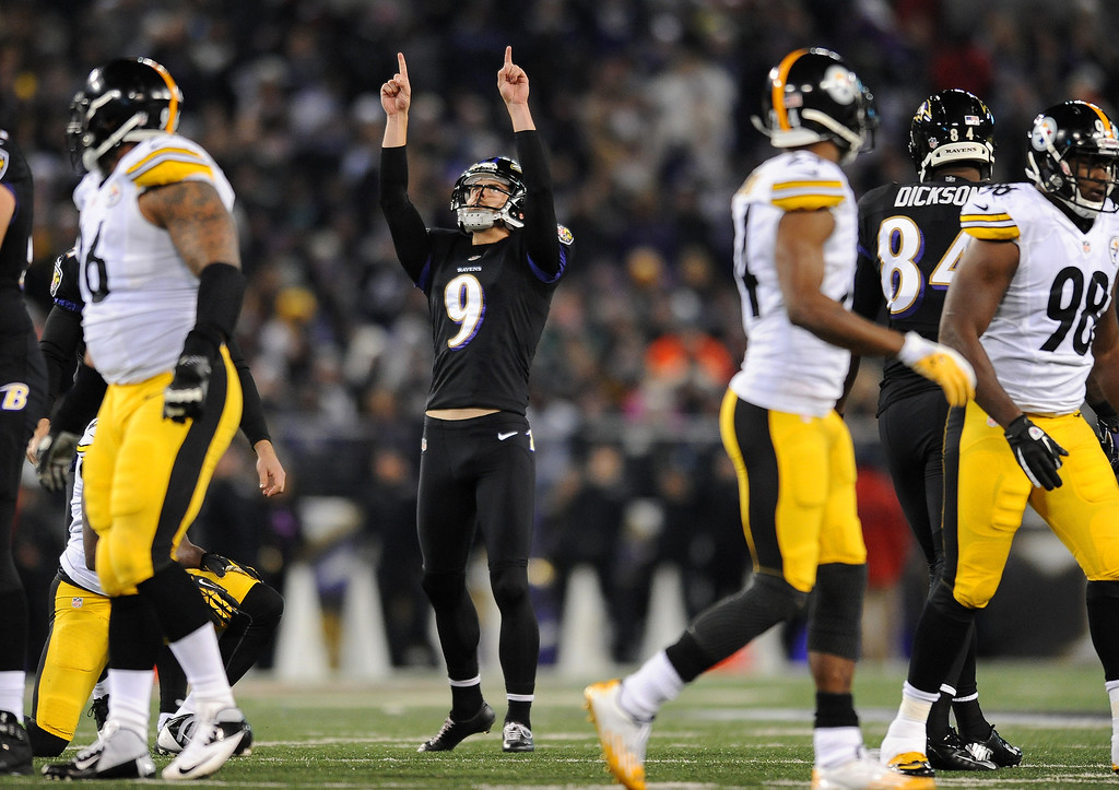 . Baltimore Ravens kicker Justin Tucker (9) reacts after making a 43-yard field goal in the first half of an NFL football game against the Pittsburgh Steelers, Thursday, Nov. 28, 2013, in Baltimore. (AP Photo/Gail Burton)