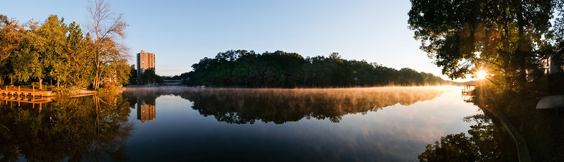 Panoramic view of Lake Anne at sunrise