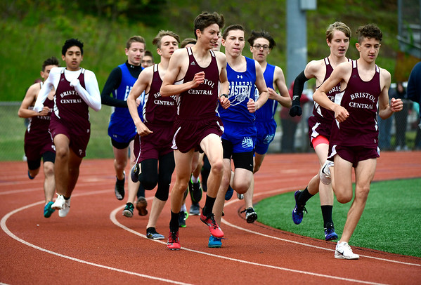 5/14/2019 Mike Orazzi | Staff The boys 1600 meter race at Bristol Eastern on Tuesday.
