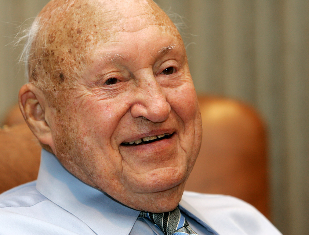 . Chick-Fil-A founder Truett Cathy reacts during an interview at his corporate headquarters office in Hapeville, Ga., Wednesday, July 26, 2006.  (AP Photo/Ric Feld)