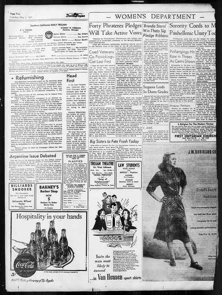 Daily Trojan, Vol. 38, No. 125, May 01, 1947