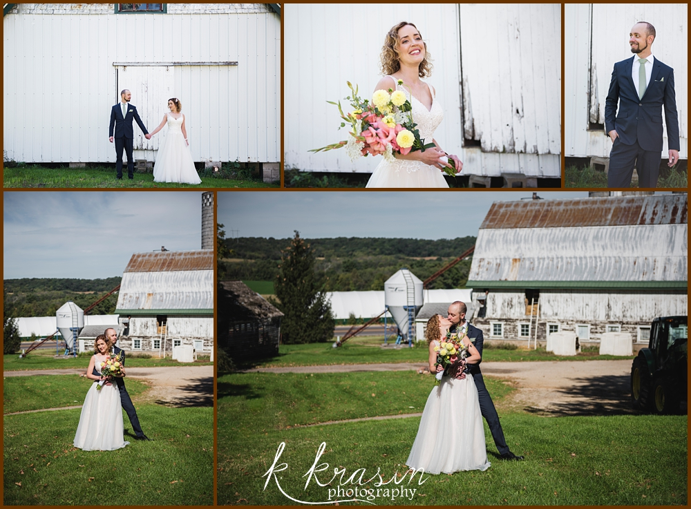 Collage of photos of bride and groom on farm