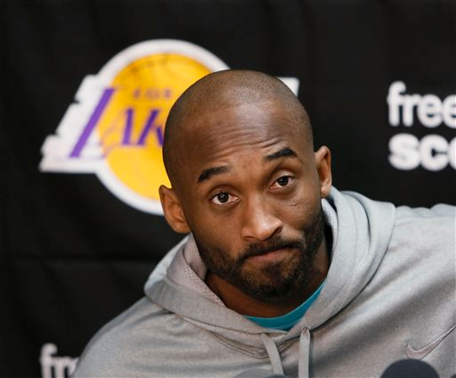 . Los Angeles Lakers guard Kobe Bryan prepares to talk to reporters during a news conference in El Segundo, Calif., Tuesday, April 30, 2013. The Lakes lost their first-round NBA basketball playoff series to the San Antonio Spurs. (AP Photo/Damian Dovarganes)