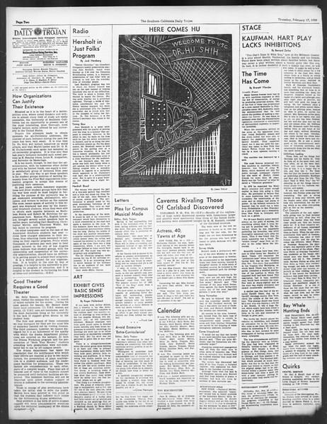 Daily Trojan, Vol. 29, No. 82, February 17, 1938