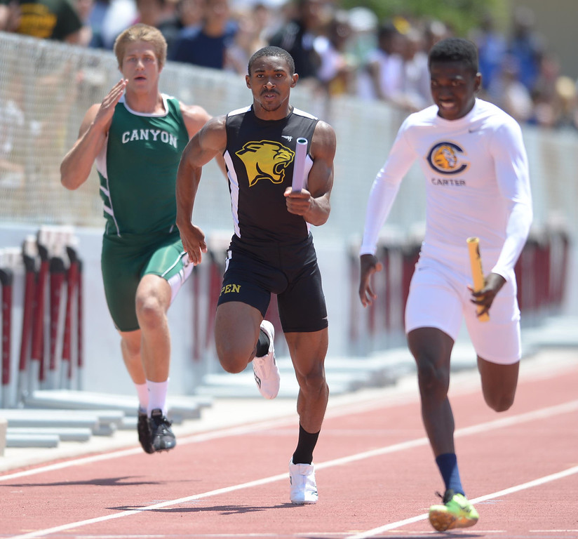 . Peninsula competes in the 4x100 meter Division 2 relay race of the CIF Southern Section Track and Field Championships Saturday at Mt. SAC. 20130518 Photo by Steve McCrank / Staff Photographer