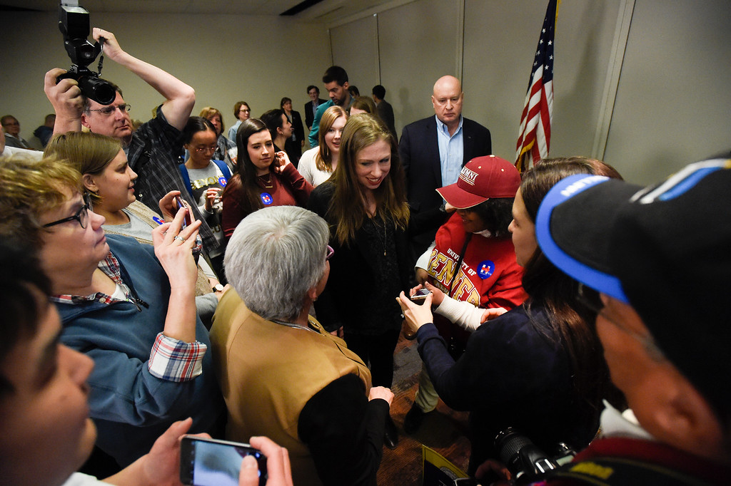 . DENVER, CO - FEBRUARY 18: Chelsea Clinton pauses to meet with supporters after speaking to about 100 supporters and students along with actress America Ferrera during a campaign stop for Hillary Clinton in Denver February 18, 2016 at the Anderson Academic Commons. (Photo By John Leyba/The Denver Post)