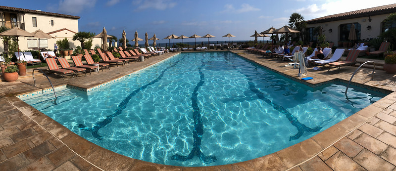 A swimming pool at the Terranea resort, shot in panorama style with an iPhone 8 Plus.